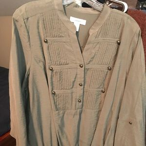 Women's Green Blouse with army inspired design